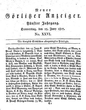 Neuer Görlitzer Anzeiger vom 25.06.1807