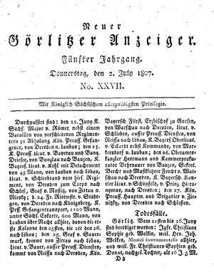 Neuer Görlitzer Anzeiger vom 02.07.1807