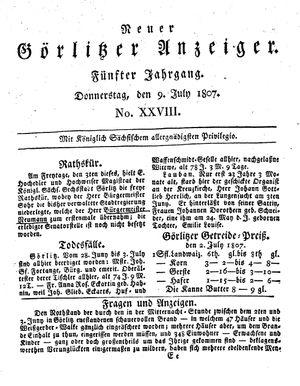 Neuer Görlitzer Anzeiger vom 09.07.1807