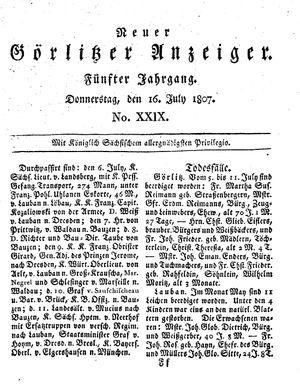Neuer Görlitzer Anzeiger vom 16.07.1807