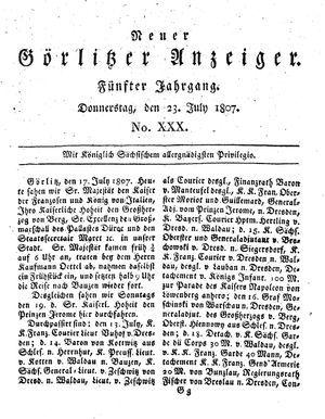 Neuer Görlitzer Anzeiger vom 23.07.1807