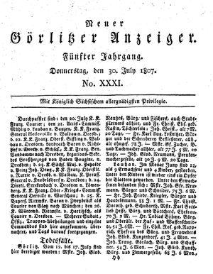 Neuer Görlitzer Anzeiger vom 30.07.1807