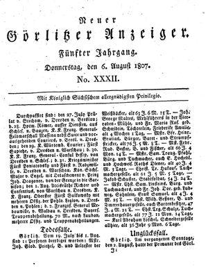 Neuer Görlitzer Anzeiger vom 06.08.1807
