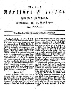 Neuer Görlitzer Anzeiger vom 13.08.1807