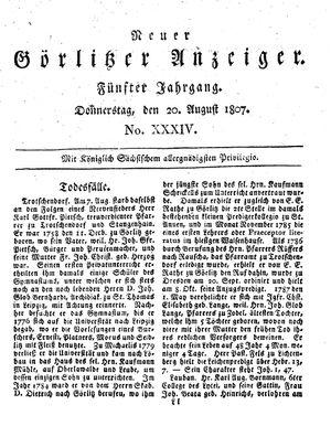Neuer Görlitzer Anzeiger vom 20.08.1807