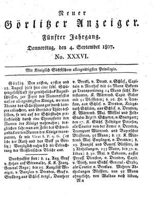 Neuer Görlitzer Anzeiger vom 04.09.1807