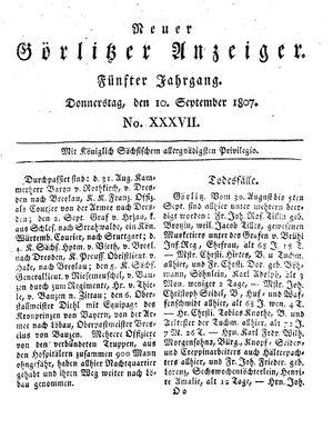 Neuer Görlitzer Anzeiger vom 10.09.1807