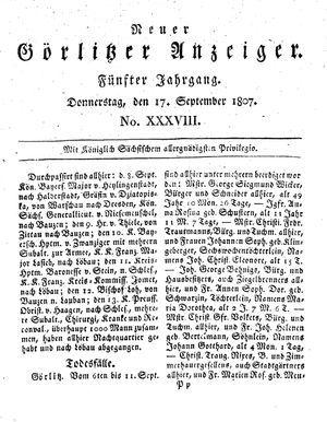 Neuer Görlitzer Anzeiger vom 17.09.1807