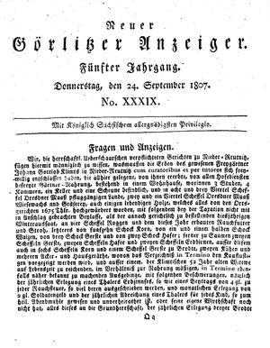 Neuer Görlitzer Anzeiger vom 24.09.1807