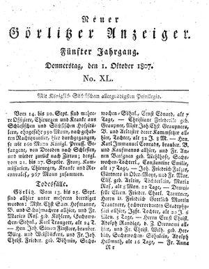 Neuer Görlitzer Anzeiger vom 01.10.1807