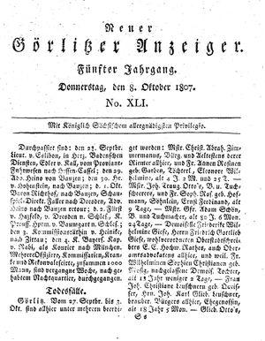 Neuer Görlitzer Anzeiger vom 08.10.1807