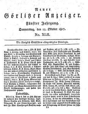 Neuer Görlitzer Anzeiger vom 15.10.1807