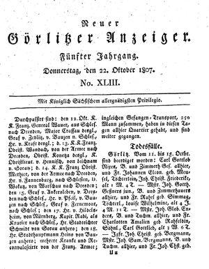 Neuer Görlitzer Anzeiger vom 22.10.1807