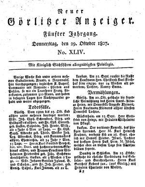 Neuer Görlitzer Anzeiger vom 29.10.1807