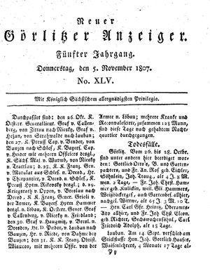 Neuer Görlitzer Anzeiger vom 05.11.1807