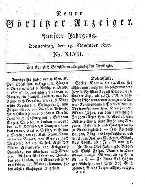 Neuer Görlitzer Anzeiger vom 19.11.1807