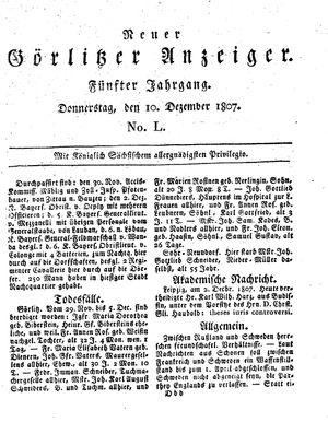 Neuer Görlitzer Anzeiger vom 10.12.1807