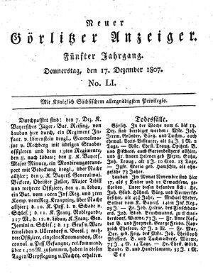 Neuer Görlitzer Anzeiger vom 17.12.1807