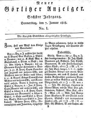 Neuer Görlitzer Anzeiger vom 07.01.1808