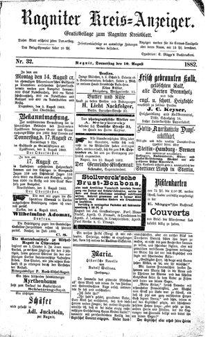Ragniter Kreis-Anzeiger vom 10.08.1882