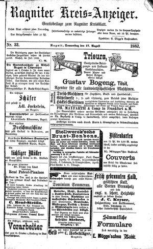 Ragniter Kreis-Anzeiger vom 17.08.1882