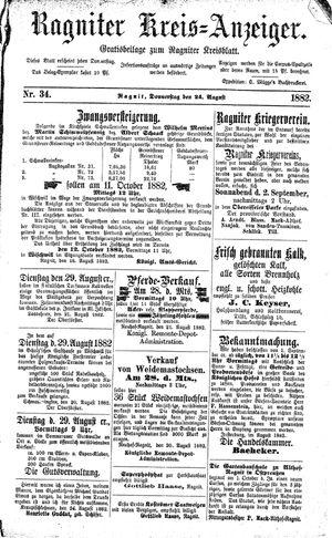Ragniter Kreis-Anzeiger vom 24.08.1882