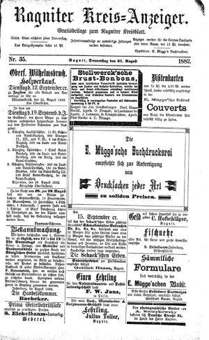 Ragniter Kreis-Anzeiger vom 31.08.1882