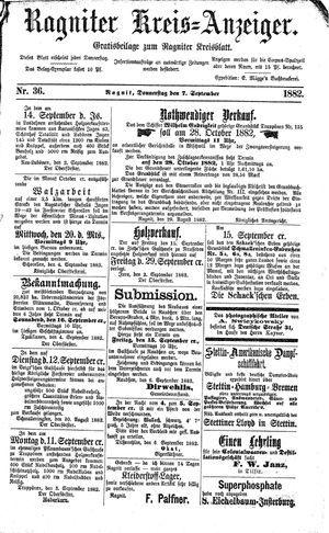 Ragniter Kreis-Anzeiger vom 07.09.1882