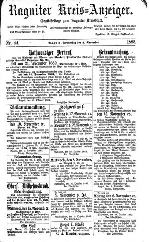 Ragniter Kreis-Anzeiger on Nov 2, 1882