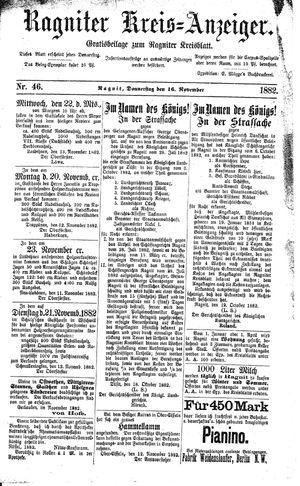 Ragniter Kreis-Anzeiger vom 16.11.1882
