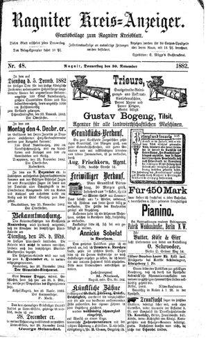 Ragniter Kreis-Anzeiger on Nov 30, 1882