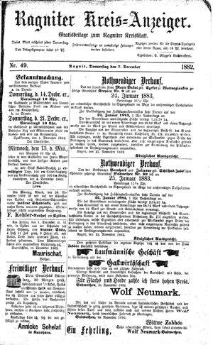 Ragniter Kreis-Anzeiger vom 07.12.1882