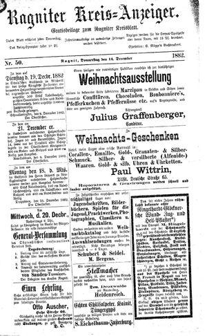Ragniter Kreis-Anzeiger on Dec 14, 1882