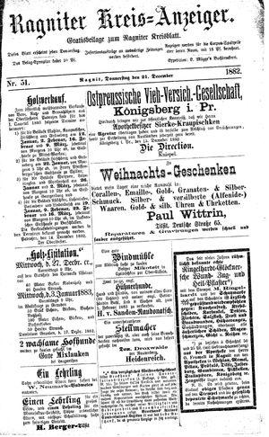 Ragniter Kreis-Anzeiger on Dec 21, 1882