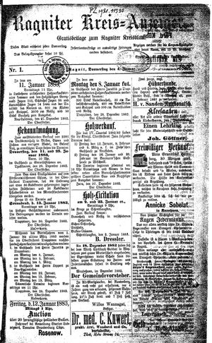 Ragniter Kreis-Anzeiger vom 04.01.1883