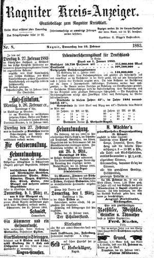 Ragniter Kreis-Anzeiger vom 22.02.1883