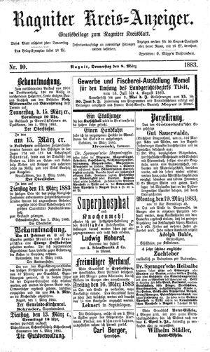 Ragniter Kreis-Anzeiger vom 08.03.1883