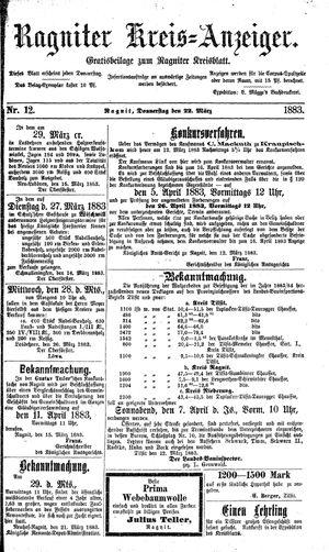 Ragniter Kreis-Anzeiger vom 22.03.1883