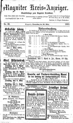 Ragniter Kreis-Anzeiger vom 29.03.1883