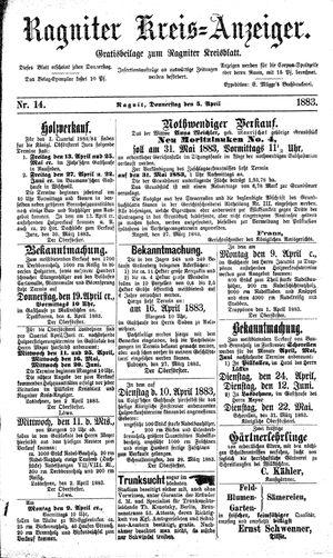 Ragniter Kreis-Anzeiger vom 05.04.1883