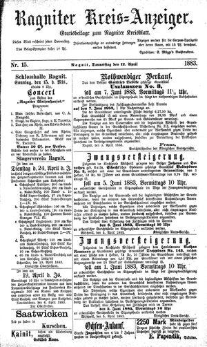 Ragniter Kreis-Anzeiger vom 12.04.1883
