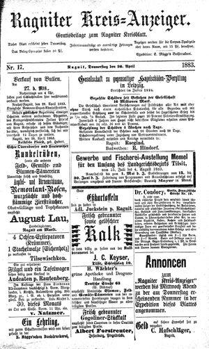 Ragniter Kreis-Anzeiger vom 26.04.1883