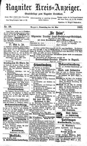 Ragniter Kreis-Anzeiger vom 10.05.1883