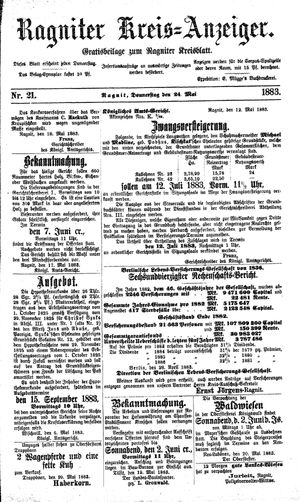 Ragniter Kreis-Anzeiger vom 24.05.1883