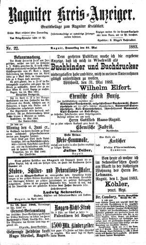 Ragniter Kreis-Anzeiger vom 31.05.1883