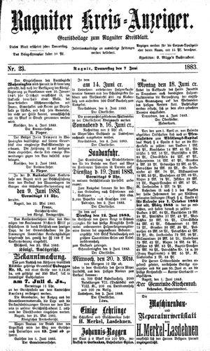 Ragniter Kreis-Anzeiger vom 07.06.1883
