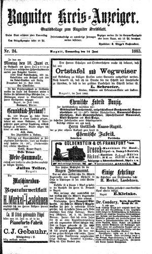 Ragniter Kreis-Anzeiger vom 14.06.1883