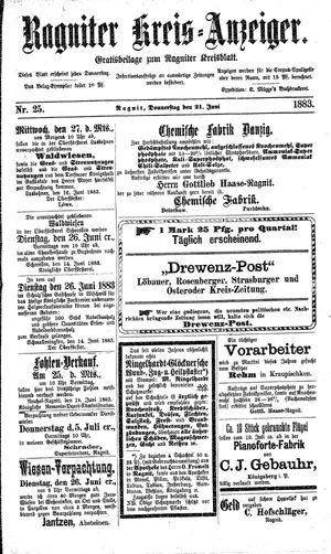 Ragniter Kreis-Anzeiger vom 21.06.1883