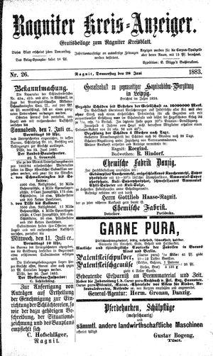 Ragniter Kreis-Anzeiger vom 28.06.1883