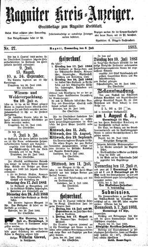 Ragniter Kreis-Anzeiger vom 05.07.1883